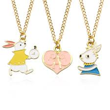 metal heart necklace images Cute alice rabbit heart pendant necklace metal gold chain cartoon jpg