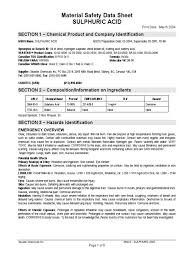 Msds Cover Sheet by Msds H2so4 Sulfuric Acid Toxicity