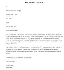 Best Sample Cover Letter For Resume by Sample Of Cover Letter Resume Cover Letter Within Best Resume