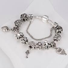 snake chain charm bracelet images Homod 2017 vintage pandora bracelet couple amp key beads snake jpg