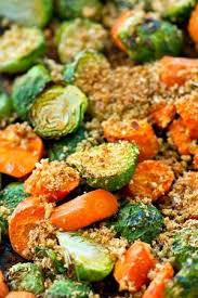 roasted brussels sprouts and carrots with parmesan breadcrumbs