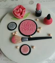 makeup cake toppers edible makeup with happy birthday plaque cake topper