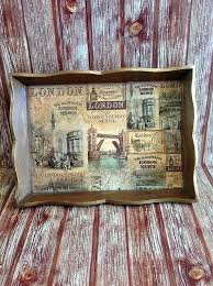 themed serving tray serving wooden tray london tower bridge themed brown gold