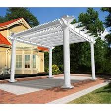 Home Depot Pergola by This Clay Vinyl Pergola Defines A Beautiful Outdoor Kitchen And