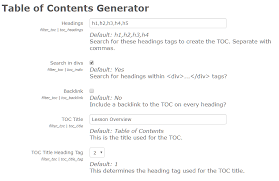 How To Do A Table Of Contents Moodle Plugins Directory Table Of Contents Generator