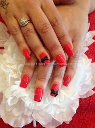 acrylic nails with pocket dot nail art and 3d bows nail designs