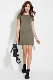 forever 21 a line t shirt dress in green lyst
