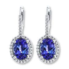 tanzanite earrings jared tanzanite dangle earrings 1 4 ct tw diamonds 14k white gold
