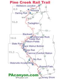 Pennsylvania State Parks Map by Pine Creek Rail Trail Mile By Mile Guide