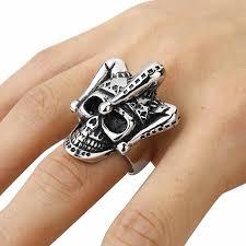 metal skeleton ring holder images Valily jewelry gothic joker clown skull ring stainless steel punk jpg