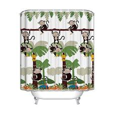 amazon com monkey bathroom decor monkey shower curtain with 12