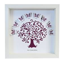 personalised our grandchildren butterfly family tree paper cut box