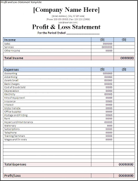 Excel Profit And Loss Template Profit And Loss Statement Template Excel