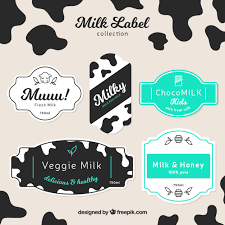 milk design collection of milk labels in flat design vector premium