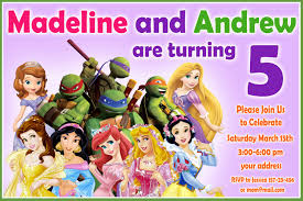 tmnt birthday invitation disney princess birthday invitation