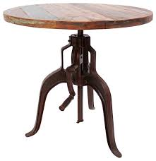Iron Bistro Table Industrial Iron And Wood Crank Table Industrial Indoor Pub And