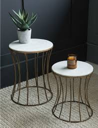 Drum Side Table White Marble Drum Side Table At Grey