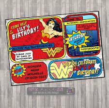 Superhero Invitation Card Superhero Wonder Woman Birthday Party Invitation Comic Superhero