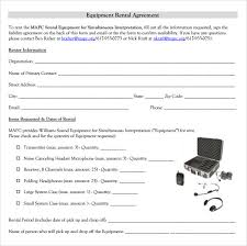sample equipment rental agreement template 9 free documents in