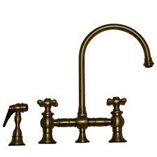 antique brass kitchen faucets whitehaus collection vintage iii 2 handle side sprayer kitchen