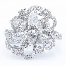 engagement rings flower design cocktail ring with flower design in 18k white gold