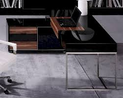 Office Desk Black by Black Gloss And Walnut Office Desk W Side Cabinet 44f101