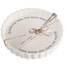 amazon com mud pie quiche baker serving set white kitchen u0026 dining