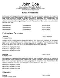 Example Federal Resume by Resume Example For Retail Job Templates