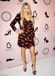 fergie hits bum note with garish printed wrap dress at shoe event