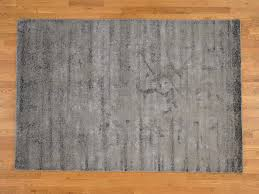 Hand Loomed Rug 6 U0027x9 U0027 Hand Loomed Wool And Silk Grey Abstract Design Oriental Rug