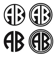 letter monogram 2 letter monogram sticker with outline or solid