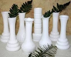 White Glass Vase Vintage Hoosier Milk Glass Etsy