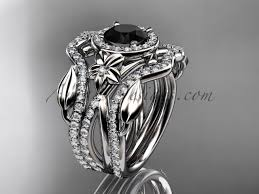 black diamond bridal set platinum diamond leaf and vine flower engagement set wedding set