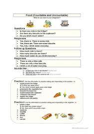 food countable u0026 uncountable worksheet free esl printable