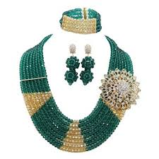 necklace beaded crystal images Buy africanbeads 8rows green and gold african crystal beads jpeg