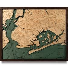 wood map 3d nautical topographic chart framed