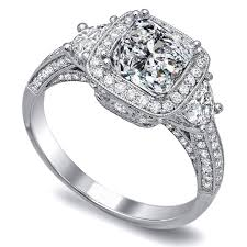 engagement rings diamond engagement ring cushion diamond engagement ring half moon side