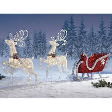 2 deer santa s sleigh large set decoration lawn