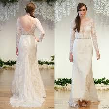 2017 illusion top lace wedding dresses sheer bateau neckline long