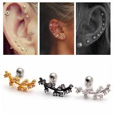 cartilage earrings men gold gemstone picture more detailed picture about hip hop