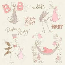 Baby Invitation Card Design Vintage Baby Shower And Arrival Doodles Set Design Elements