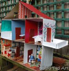 How To Make A Dollhouse Out Of A Bookcase How To Make A Cardboard Dolls House Red Ted Art U0027s Blog