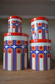 vintage retro kitchen canisters vintage retro set of four nesting tin canisters by catbedoven