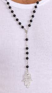 necklace rosary beads images Jewish rosary beads big hamsa in black apparel addiction jpg