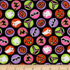 spooktacular halloween circle icons black from fabricdotcom from