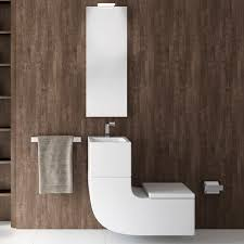 wall hung toilet porcelain with integrated hand basin w w roca
