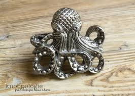 Real Seashell Cabinet Knobs by Octopus Knob Large Antique Pewter Metal Knob Nautilus