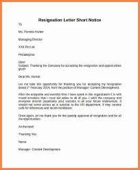 8 short notice resignation letter template notice