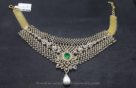 gold diamond emerald necklace images Gold diamond emerald necklace by sri balaji jewellers south jpg