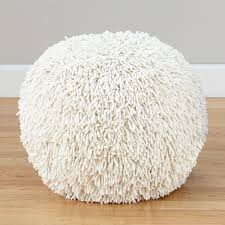 shaggy pouf white the land of nod